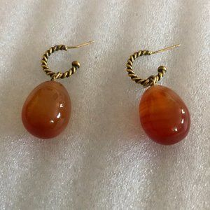 Vintage Polished Agate Egg Drop Earrings